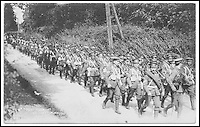 BNPS.co.uk (01202 558833)<br /> Pic:AmberleyPublishing/BNPS<br /> <br /> ***Please Use Full Byline***<br /> <br /> Troops marching.<br /> <br /> A cookbook for WWI soldiers has been published for the first time in 100 years revealing the surprising recipes that British Tommies lived on in the trenches.<br /> <br /> Hundreds of thousands of troops were armed with The British Army Cook Book as they headed to off war in 1914.<br /> <br /> The book contained detailed instructions on how to rustle up mouth-watering menus to feed entire platoons using meagre war-time rations.<br /> <br /> The dishes might sound tempting but in reality those on the frontlines would have had to rely more on powdered foods because fresh produce often took too long to reach them.<br /> <br /> The 1914 British Army Cook Book has been reprinted by Amberley Publishing for the first time since it was first issued 100 years ago.<br /> <br /> It is on sale now for &pound;9.99.