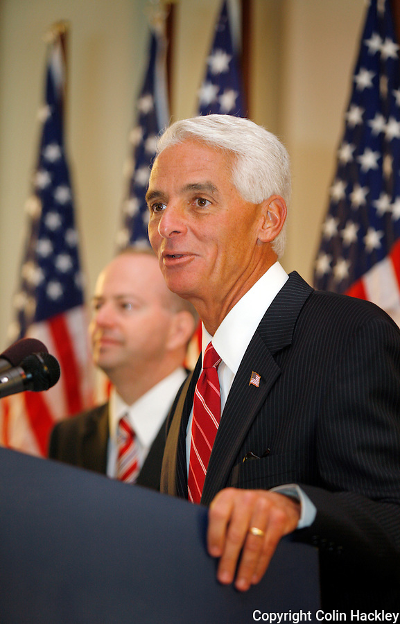 TALLAHASSEE, FL. 8/28/09-LEMIEUX CH04-Gov. Charlie Crist, right, announces that George LeMieux, his former chief of staff, will fill the U.S. Senate seat vacated by Mel Martinez, Friday at the Capitol in Tallahassee. LeMieux replaces Martinez who resigned the post and will serve a little more than a year in the role. Crist is running for the U.S Senate seat and hopes to win it in the November 2010 election...COLIN HACKLEY PHOTO