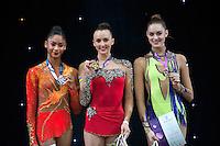 "February 13, 2016 - Tartu, Estonia - (L-R) NASTASYA GENERALOVA of USA (silver) ANNA RIZATDINOVA of Ukraine (gold) and CARMEL KALLEMAA of Estonia (bronze) are winners in the All-Around at ""Miss Valentine"" 2016 international tournament."