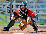2 July 2011: Tri-City ValleyCats catcher Ryan McCurdy warms up a pitcher in the bullpen prior to a game against the Vermont Lake Monsters at Centennial Field in Burlington, Vermont. The Monsters rallied from a 4-2 deficit to defeat the ValletCats 7-4 in NY Penn League action. Mandatory Credit: Ed Wolfstein Photo