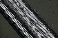 aerial photograph oil pipelines Chevron Long Warf, Richmond Refinery, Richmond, California