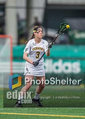 25 April 2015: University of Vermont Catamount Defender Megan Wilson, a Senior from Kingston, Ontario, in action against the University of New Hampshire Wildcats at Virtue Field in Burlington, Vermont. The Lady Catamounts defeated the Lady Wildcats 12-10 in the final game of the season, advancing to the America East playoffs. Mandatory Credit: Ed Wolfstein Photo *** RAW (NEF) Image File Available ***