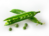 Fresh peas and pea pods