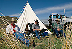 Jordan Valley Big Loop Rodeo--Camping along the road with the tent and Ford pickup are Travis Tremblay, Scott Monahan and Matt Hutchison