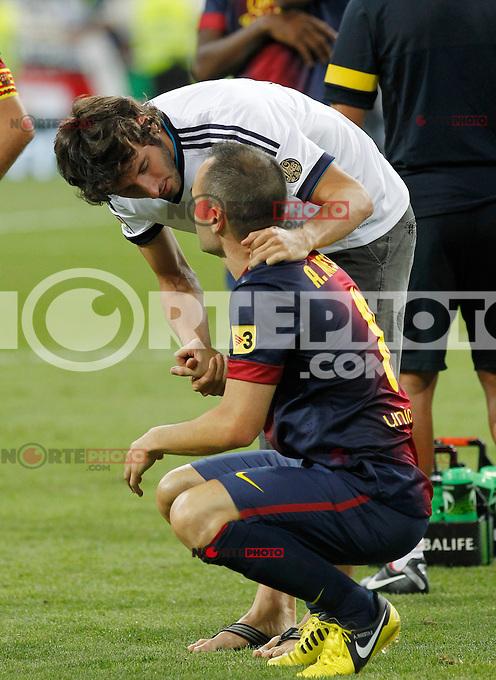Real Madrid's Granero and F.C. Barcelona's Andres Iniesta during Spanish Supercup 2nd match on august 29 2012...Photo: Cebola / Cid-Fuentes / ALFAQUI /NortePhoto.com<br /> <br /> **CREDITO*OBLIGATORIO** <br /> *No*Venta*A*Terceros*<br /> *No*Sale*So*third*<br /> *** No*Se*Permite*Hacer*Archivo**<br /> *No*Sale*So*third*