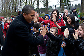 United States President Barak Obama greets students from Medina Elementary School in Medina, Washington, February 17, 2012. .Mandatory Credit: Pete Souza - White House via CNP