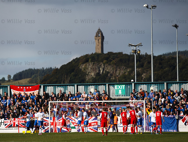 Under the gaze of the Wallace Monument we have Rangers and Stirling Albion about to contest the corner kick leading to the home side's opening goal