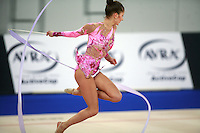 September 21, 2007; Patras, Greece;  Simona Peycheva of Bulgaria turning leaps with ribbon during All-Around final at 2007 World Championships Patras.  Simona placed 10th in the AA to  help Bulgaria to receive the 1st of 2 positions for the individual All-Around competition at Beijing 2008 Olympics and the possibility of making her second Olympic Games.  Photo by Tom Theobald. .