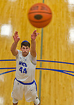 22 November 2015: Yeshiva University Maccabee Forward Shelby Rosenberg, a Senior from Woodmere, NY,  takes a foul shot in the second half of NCAA Men's Basketball play against the Hunter College Hawks at the Max Stern Athletic Center  in New York, NY. The Maccabees defeated the Hawks 81-71 in non-conference play, for their second win of the season. Mandatory Credit: Ed Wolfstein Photo *** RAW (NEF) Image File Available ***