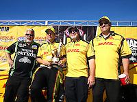 Aug 21, 2016; Brainerd, MN, USA; NHRA funny car driver Del Worsham celebrates with crew after winning the Lucas Oil Nationals at Brainerd International Raceway. Mandatory Credit: Mark J. Rebilas-USA TODAY Sports