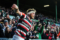 Brendon O'Connor of Leicester Tigers celebrates scoring a first half try. European Rugby Champions Cup match, between Leicester Tigers and Racing 92 on October 23, 2016 at Welford Road in Leicester, England. Photo by: Patrick Khachfe / JMP