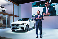 NEW YORK, NY - APRIL 12: Lex Kerssemakers, senior vice president of Volvo Cars of North America LLC, speaks in front of a Volvo AB XC60 at the New York International Auto Show, at the Jacob K. Javits Convention Center on April 12, 2017 in Manhattan, New York. Photo by VIEWpress/Eduardo MunozAlvarez