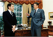 United States President Ronald Reagan meets with U.S. Secretary of Defense Caspar Weinberger in the Oval Office on Tuesday, October 11, 1983 prior to the Secretary's departure for Seoul, South Korea where he will represent the President at funeral services for Korean government officials killed over the week-end..Mandatory Credit: Bill Fitz-Patrick - White House via CNP