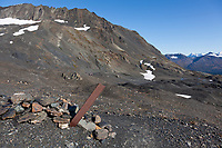 Trail marker along the Harding Ice Field trail, Kenai Fjords National Park, Kenai mountains, Kenai Peninsula, southcentral, Alaska.