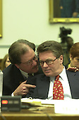 Jack Quinn, former White House counsel and attorney for Marc Rich, receives advice from his counsel as he testifies before the United States House Committee on Government Reform and Oversight in Washington, D.C. on 8 February, 2001..Credit: Ron Sachs / CNP