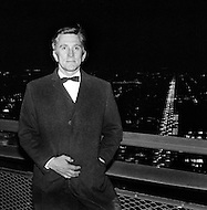New York, U.S.A, 1966 Kirk Douglas atop the Pan Am Building.