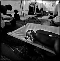 Luanda, Angola, May 19, 2006.A young patient at the Boa Vista MSF Belgium operated cholera field clinic. Between February and June 2006, more than 30000 people were infected with cholera in Angola's worse outbreak ever; more than 1300 died.