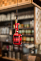 DURHAM, N.C. Tuesday August 5, 2014 - A red microphone for baristas to announce orders are ready at Cocoa Cinnamon in Durham, N.C. (Justin Cook for The New York Times)
