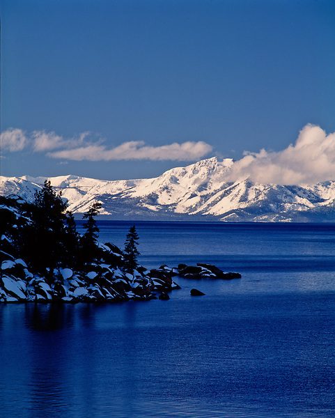 Lake Tahoe Winter Mountain Shoreline