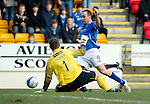 St Johnstone v Dundee United...11.02.12.. SPL.Lee Croft goes down but the ref books him for diving.Picture by Graeme Hart..Copyright Perthshire Picture Agency.Tel: 01738 623350  Mobile: 07990 594431