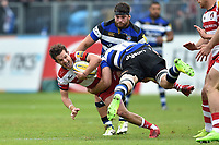 Billy Burns of Gloucester Rugby is tackled. Aviva Premiership match, between Bath Rugby and Gloucester Rugby on April 30, 2017 at the Recreation Ground in Bath, England. Photo by: Patrick Khachfe / Onside Images
