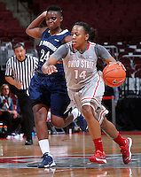 Ohio State Buckeyes guard Ameryst Alston (14) dodges Old Dominion Lady Monarchs forward Annika Holopainen (24) during Friday's NCAA Division I basketball game at Value City Arena in Columbus on November 22, 2013. Ohio State won the game 75-60. (Barbara J. Perenic/The Columbus Dispatch)