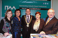 NO FEE PICTURES.25/1/13 Maureen Ledwith, Director Holiday World, Lord Mayor of Dublin is Naoise Ó Muirí and Clare Dunne, President ITAA with Jean Maxwell and Pat Dawson, CEO ITAA at the Holiday World Show at the RDS, Dublin. Picture:Arthur Carron/Collins
