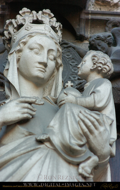 Detail: Madonna and Child over South Entrance, Onze-Lieve-Vrouwkerk Church of Our Lady, Bruges, Brugge, Belgium