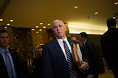 United States Vice President-elect Mike Pence speaks to members of the media at Trump Tower in Manhattan, New York, U.S., on Friday, November 18, 2016. <br /> Credit: John Taggart / Pool via CNP
