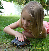 1R14-527z  Child looking at Painted Turtle, Chrysemys picta, PRA