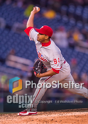 28 April 2016: Philadelphia Phillies pitcher Dalier Hinojosa on the mound against the Washington Nationals at Nationals Park in Washington, DC. The Phillies shut out the Nationals 3-0 to sweep their mid-week, 3-game series. Mandatory Credit: Ed Wolfstein Photo *** RAW (NEF) Image File Available ***