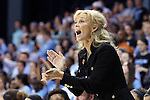 25 March 2014: MSU head coach Suzy Merchant. The University of North Carolina Tar Heels played the Michigan State University Spartans in an NCAA Division I Women's Basketball Tournament First Round game at Cameron Indoor Stadium in Durham, North Carolina. UNC won the game 62-53.