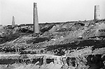 Scarred landscape disused tin mines Cornwall near Chacewater Cornwall. 1979.