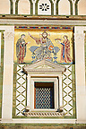 The Romanesque marble facade & mosaic begun in about 1090 of San Miniato al Monte (St. Minias on the Mountain) basilica , Florence, Italy.