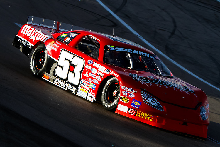 April 2, 2011: Cole Cabrera (53) passes through a light pocket in turn one as he qualifies his Spears Super Late Model at The Bullring at Las Vegas Motor Speedway.