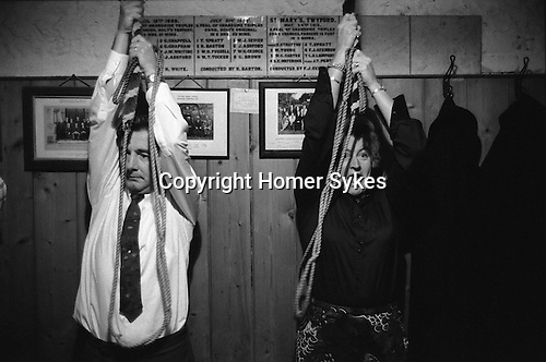 Bell Ringers Feast, Twyford, Hampshire. England 1975.  St Marys Church Twyford.