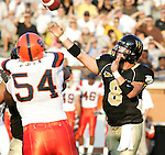 2 September 2006: Wake Forest's Benjamin Mauk (8) throws to Willie Idlette (not pictured) for a 14 yard touchdown in the first quarter to give Wake a 7-0 lead. Wake Forest defeated Syracuse 20-10 at Groves Stadium in Winston-Salem, North Carolina in an NCAA college football game.