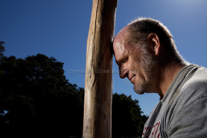 Stanford employee, Alan Hebert practices for the Scottish Highland Games held in Alameda, California.