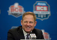 LSU Head Coach Les Miles smiles and winks while talking with the reporters during BCS National Championship Head Coaches Press Conference at Marriott Hotel at the Convention Center on January 8th, 2012.