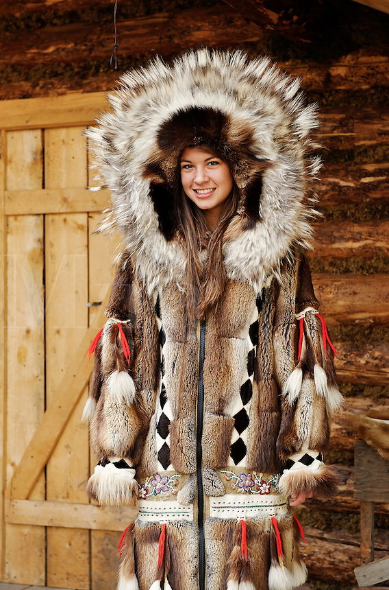 ... fur clothing of her native tribe, Chena Indian village, Alaska