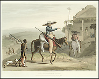 BNPS.co.uk (01202 558833)<br /> Pic: Bonhams/BNPS<br /> <br /> Boors returning from hunting.<br /> <br /> A 200-year-old volume of art work that gave Briton's their first look at the country of South Africa has surfaced. <br /> <br /> Natural history painter Samuel Daniell became one of the first to depict the African country while on an expedition there at the turn of the 19th century. <br /> <br /> His raw, almost photographic, paintings were shipped back to the UK to offer westerners a before unseen window into South Africa. <br /> <br /> The stunning works, which were done before the dawn of photography, picture wild animals and native peoples against the rugged backdrop of the the country's Atlantic coast. <br /> <br /> This first edition copy has been in private ownership in South Africa for the past century but will be sold on February 1 by Bonhams auctioneers. <br /> <br /> It is thought to be worth up to &pound;25,000.