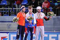 "SHORT TRACK: MOSCOW: Speed Skating Centre ""Krylatskoe"", 14-03-2015, ISU World Short Track Speed Skating Championships 2015, Podium Men 1500m, Sjinkie KNEGT (NED), Semen ELISTRATOV (RUS), Charles HAMELIN (CAN), ©photo Martin de Jong"