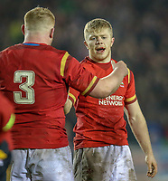 Wales U20's Kieran Williams is congratulated by Kieron Assiratti after scoring his side's fourth try<br /> <br /> Photographer Alex Dodd/CameraSport<br /> <br /> RBS Six Nations U20 Championship Round 4 - Wales U20s v Ireland U20s - Saturday 11th March 2017 - Parc Eirias, Colwyn Bay, North Wales<br /> <br /> World Copyright &copy; 2017 CameraSport. All rights reserved. 43 Linden Ave. Countesthorpe. Leicester. England. LE8 5PG - Tel: +44 (0) 116 277 4147 - admin@camerasport.com - www.camerasport.com