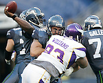 Seattle Seahawks guard John Moffitt provide pass protection against the Minnesota Vikings defensive tackle Kevin Williams at CenturyLink Field in Seattle, Washington August 20, 2011. The Vikings beat the Seahawks  20-7. ©2011 Jim Bryant Photo. All Rights Reserved.