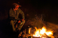 Cowboy, camping, campfire, Wyoming