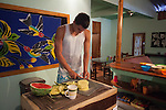 2012 August 06: Breakfast being cooked at the Tiko Adventure Lodge in Playa Sámara, Costa Rica.