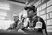Greg Van Avermaet (BEL/BMC) at the winners post-race press conference<br /> <br /> 60th E3 Harelbeke (1.UWT)<br /> 1day race: Harelbeke &rsaquo; Harelbeke - BEL (206km)