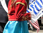Greek Parade in New York City. Detail of a girls clothing in the Greek Parade in New York City.