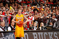 Ohio State fans yell at Wyoming Cowboys guard Josh Adams (14) as he inbounds the ball during the second half of the NCAA basketball game at Value City Arena in Columbus on Nov. 25, 2013. The Buckeyes won 65-50. (Adam Cairns / The Columbus Dispatch)