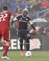 New England Revolution forward Saer Sene (39) on the attack. In a Major League Soccer (MLS) match, the New England Revolution defeated Chicago Fire, 2-0, at Gillette Stadium on June 2, 2012.